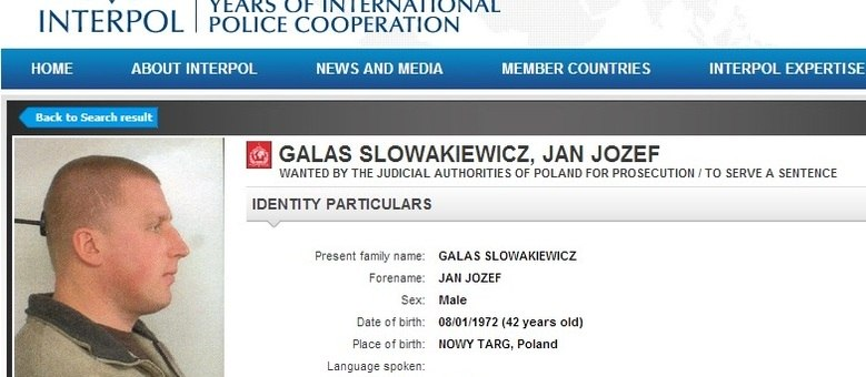 Jan Jozef Galas é procurado pela Interpol por crimes como sequestro, tráfico de drogas e extorsão