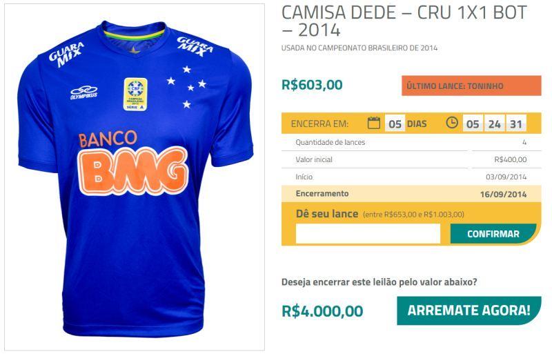 Leilão oferece camisa usada por jogador na Copa do Brasil - Fotos - R7  Economia 9b0a00c9ce964