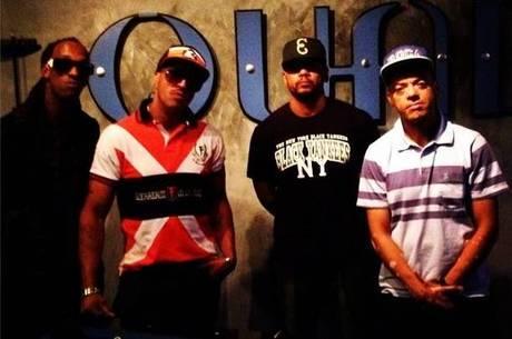 Ice Blue, Mano Brown, Edi Rock e KL Jay no Quad Studios, em Nova York (EUA), durante gravação do novo álbum do Racionais MC´s