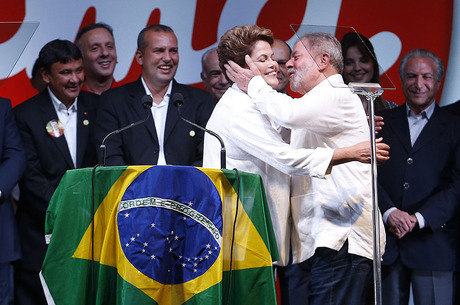 Dilma Rousseff e Lula após a vitória