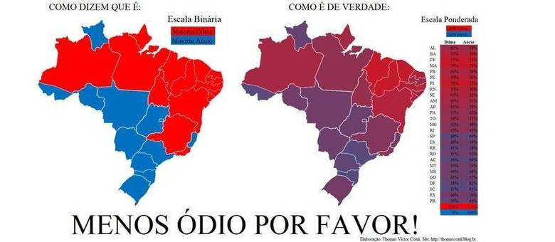 Gráfico postado pelo pesquisador Thomas Conti mostra que eleitores de Dilma e Aécio misturam-se pelos Estados
