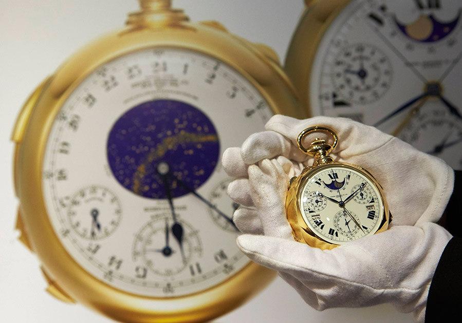 dfa5074e84b ... Um relógio de bolso de ouro da marca Patek Philippe bateu recorde na  terça-feira ...