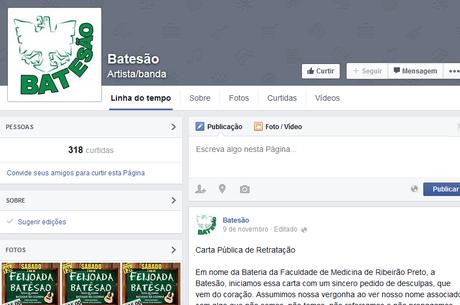 Em rede social, bateria publicou carta pública de retratação