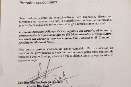 Recado sobre possível colisão entre aeronave e prédio na região da av. Paulista