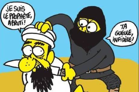 Charlie Hebdo publicou uma caricatura do profeta Maomé sendo decapitado por um membro do Estado Islâmico