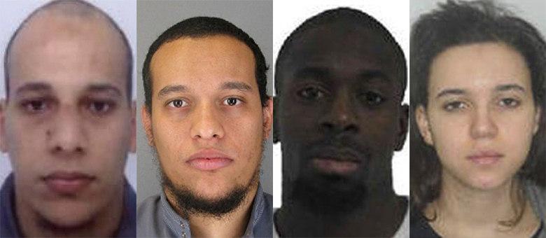 Dos quatro terroristas que participaram do atentado em Paris, os três homens estão mortos e a mulher foragida