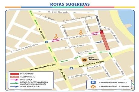 Tráfego será desviado para avenidas Presidente Vargas e Rio Branco