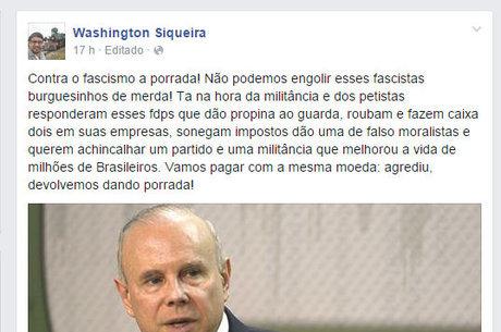 """Em seu Facebook, Quaquá convocou a militância e petistas para """"pagar com a mesma moeda"""""""