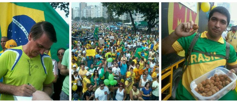 À esquerda, o deputado Jair Bolsonaro dá autógrafos antes de ser vaiado; à direita, manifestante distribui coxinhas
