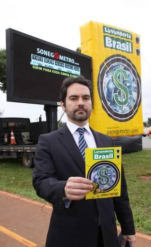 Heráclio Camargo durante ato na Esplanada dos Ministérios, em Brasília