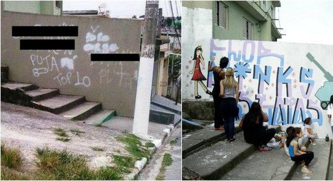 """Movimento social fez """"grafitaço"""" para apagar nome exposto na lista das """"mais vadias"""" que circula em escolas de SP"""