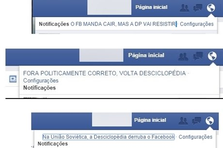 Mensagens em páginas do Facebook
