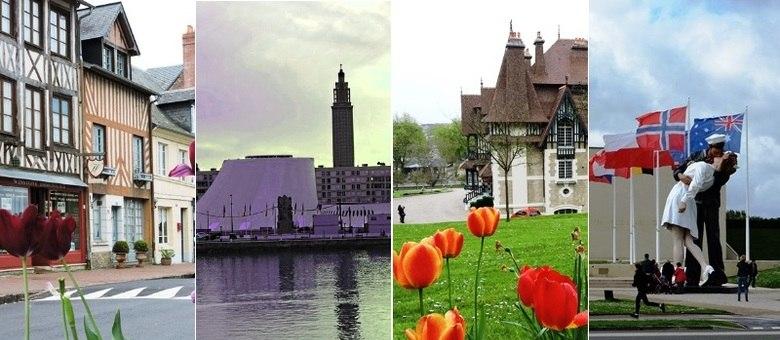 Casa em estilo normando, obra de Oscar Niemeyer, em Le Havre, Deauville e Memorial de Caen (da esq para a dir.)