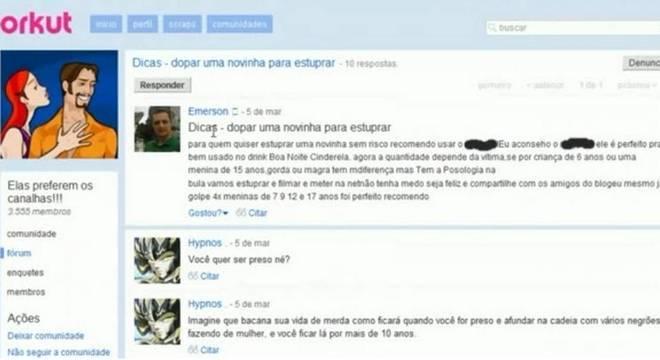"""Emerson mostrava a cara e não temia nada quando dava dicas de """"como dopar uma novinha para estuprar"""" no Orkut"""