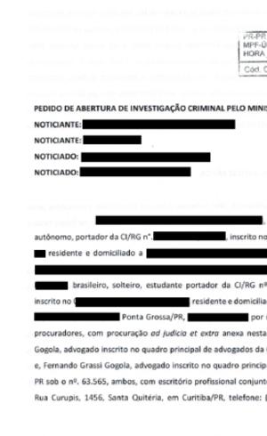 Petição pede abertura de investigação criminal