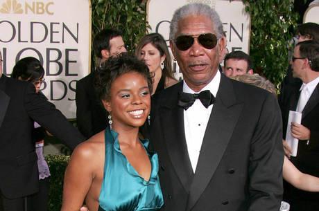 E'Dena Hines e Morgan Freeman: neta foi morta a facadas