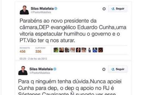 Malafaia usou o Twitter para comentar sobre Cunha duas vezes