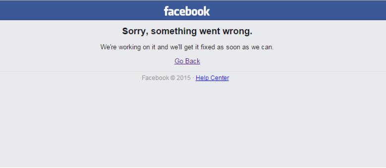 Página visualizada por milhões de usuários que tentaram acessar a rede social nesta tarde