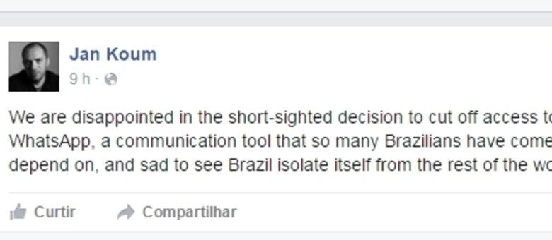 Portagem do criador do WhatsApp no Facebook aponta que proibição é míope