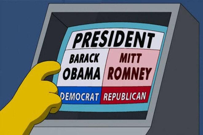 Problemas nas urnasEm 2008, uma urna eletrônica da Pensilvânia foi tirada de circulação ao ser constatado que o equipamento computava os votos de Obama para o candidato republicano John McCain. Em uma cena de um episódio de 2008, o mesmo problema é abordado pelo desenho, mas no caso quem recebe os votos do candidato democrata é Mitt Romney