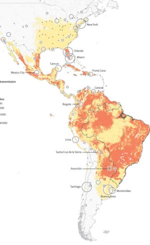 Mapa mostra onde o risco de transmissão existe o ano todo (laranja) e onde é sazonal (amarelo)