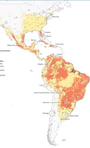 Mapa divulgado recentemente mostra as regiões potenciais para a disseminação do vírus