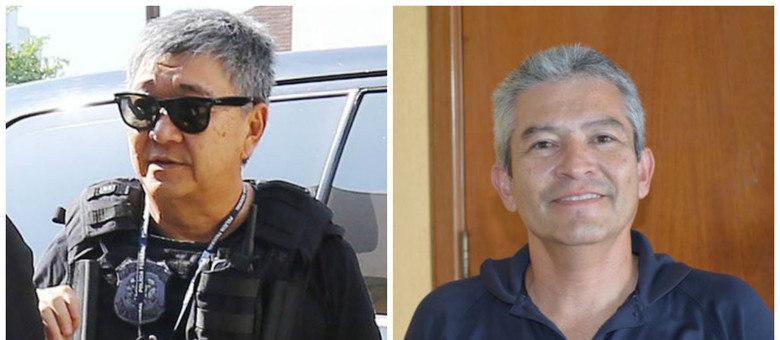 O japonês da federal Newton Ishii, à esquerda durante operação, e o japonês da Zelotes, Roberto Shiniti, em foto do Sindicato dos Policiais da PF