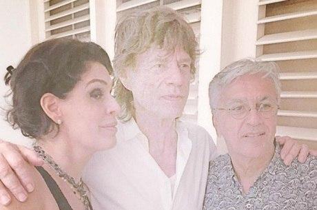 Mick Jagger e Caetano Veloso se encontraram no Rio de Janeiro
