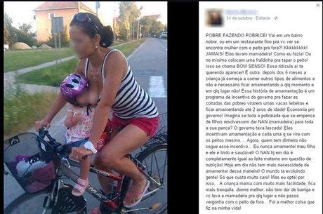 O caso da mãe amamentando a filha na bicicleta virou motivo para uma manifestação online