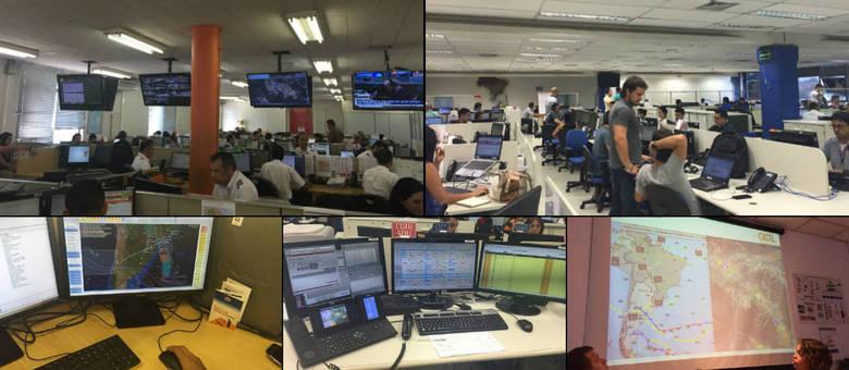 Centros de operações da Gol (esq.) e da TAM (dir.) funcionam 24 horas, sete dias por semana