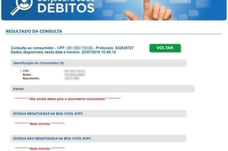Ao acessar site, consumidor sabe na hora se tem alguma dívida