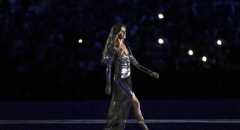 Modelo brasileira foi um dos destaques na festa da Olimpíada do Rio de Janeiro, em 2016