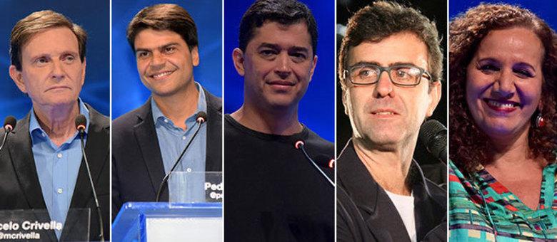 Marcelo Crivella (PRB) lidera as intenções de voto para a Prefeitura do Rio. Socialista Marcelo Freixo está em 2º