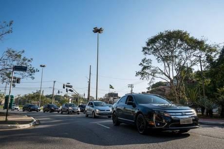 Motoristas da Uber durante protesto no mês passado