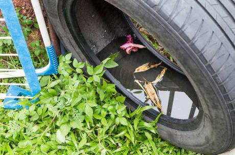 Evitar o acúmulo de água parada em pneus e outros reservatórios é um cuidado a ser tomado tanto dentro de casa quanto nas viagens de verão