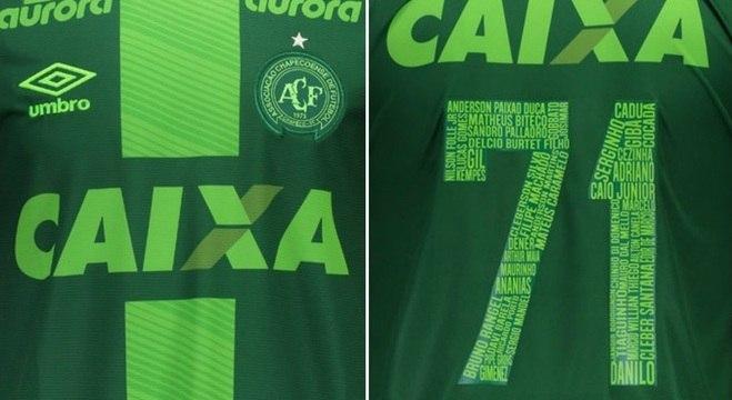 Umbro lança camisa especial da Chape com homenagem às vítimas do acidente  de Medellín 6de057edecf9e