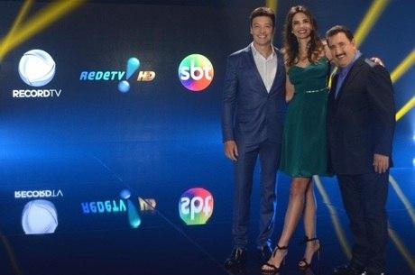 Os apresentadores Rodrigo Faro, Luciana Gimenez e Ratinho