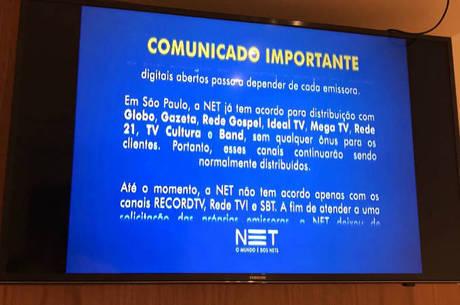 Comunicado exibido aos assinantes da NET