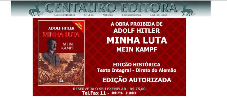 Editora Centauro divulga o livro em sua página na internet