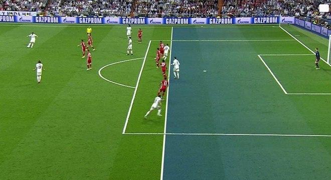 No momento do lançamento do segundo gol, Cristiano Ronaldo estava em posição irregular