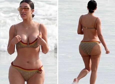Outra Kardashian mostrou as curvas em viagem ao México