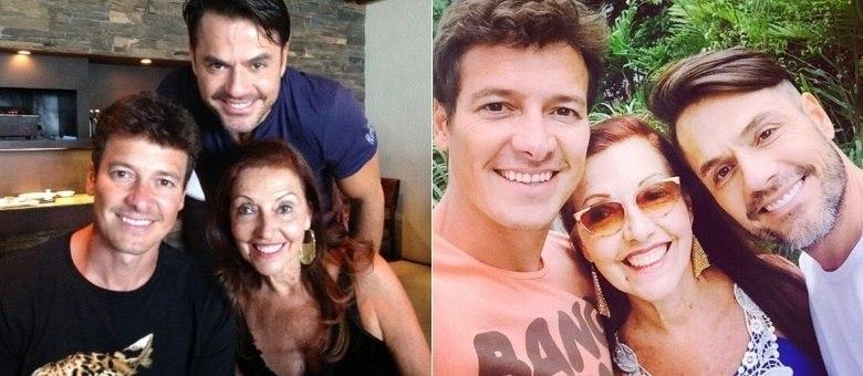 Vera Lúcia posa ao lado dos filhos: Rodrigo e Danilo