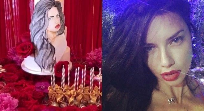 Adriana Lima ganhou um bolo de aniversário especial