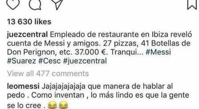 Lionel Messi rebate imagem de conta de mais de R$ 135 mil em bar em Ibiza, na Espanha
