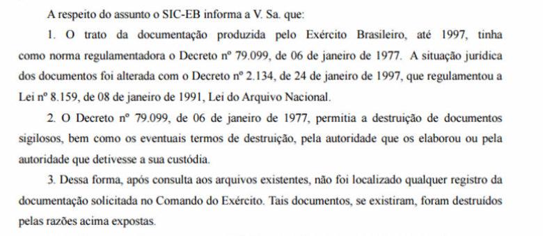 Documento enviado, via Lei de Acesso à Informação, ao R7 pelo Exército