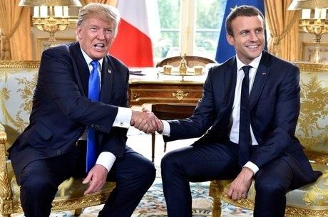 Resultado de imagem para A Bela e a Fera. O encontro de Macron com Trump