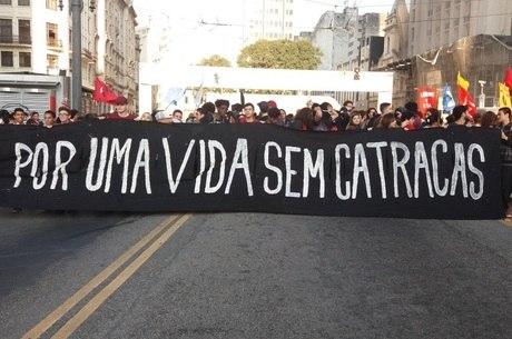 Estudantes se reuniram em frente à Prefeitura de São Paulo