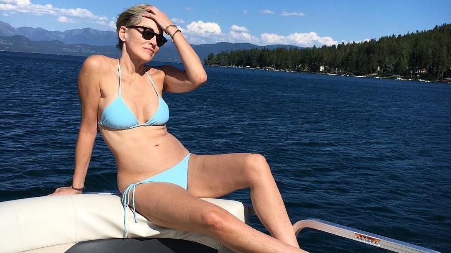 Aos 59 anos, Sharon Stone posa de biquíni e recebe elogios