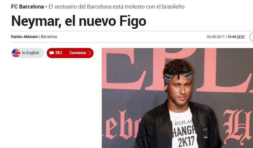 Ex-presidente do Barcelona compara Neymar a Luís Figo