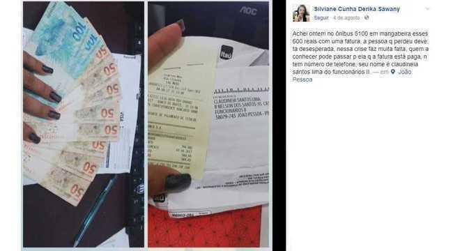 Post de Silviane Cunha após achar dinheiro e fatura perdidos